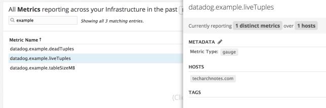 Datadog metrics summary example